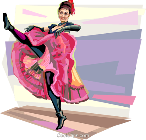 French can-can-dancer at Moulin Rouge Royalty Free Vector Clip Art illustration vc112018