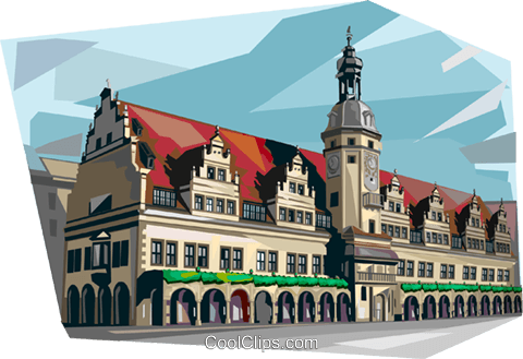 Germany Leipzig Old Town Hall Royalty Free Vector Clip Art illustration vc112021