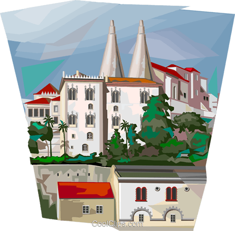 Portugal Sintra's palace Royalty Free Vector Clip Art illustration vc112023