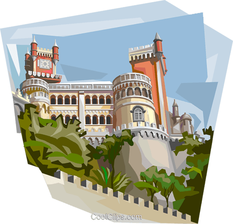 Portugal Sintra Pena Palace Royalty Free Vector Clip Art illustration vc112024