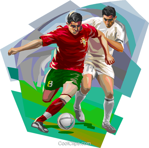 Portugal football players with ball Royalty Free Vector Clip Art illustration vc112025