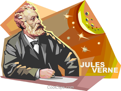 French author Jules Verne Royalty Free Vector Clip Art illustration vc112031