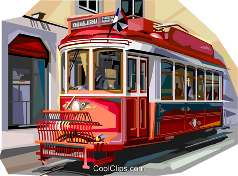 Portugal old tram in Lisbon Royalty Free Vector Clip Art illustration vc112035