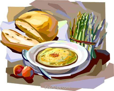 French lunch with soup and fresh bread Royalty Free Vector Clip Art illustration vc112041
