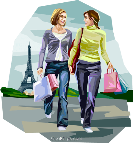 Women shopping in Paris France Royalty Free Vector Clip Art illustration vc112042