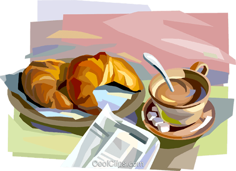 French Breakfast With Croissants Royalty Free Vector Clip Art Illustration