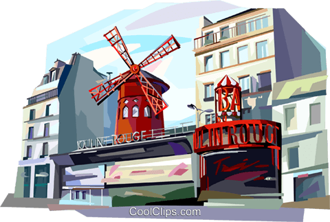Paris France Moulin Rouge Royalty Free Vector Clip Art illustration vc112044
