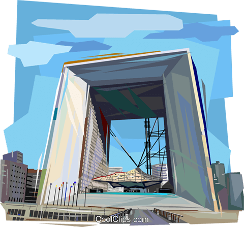 La Grande Arche, Paris France Royalty Free Vector Clip Art illustration vc112054