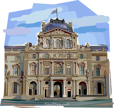 The Louvre in Paris Royalty Free Vector Clip Art illustration vc112055
