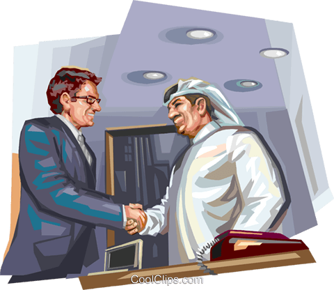 Arabic business meeting Royalty Free Vector Clip Art illustration vc112066