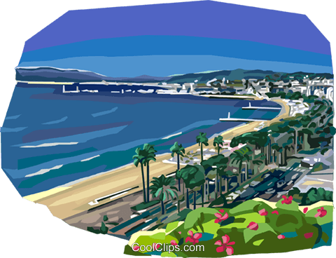 French Riviera sea coast Royalty Free Vector Clip Art illustration vc112080