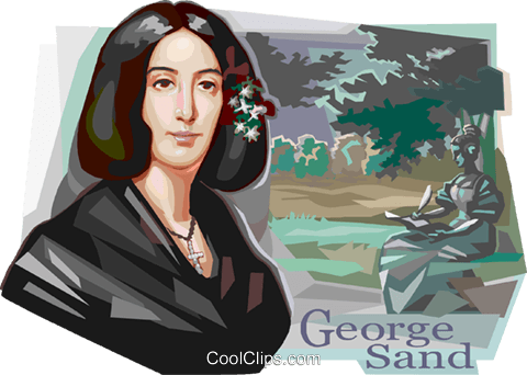 French Romantic writer George Sand Royalty Free Vector Clip Art illustration vc112086