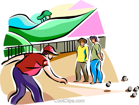 petanque players Royalty Free Vector Clip Art illustration vc112093