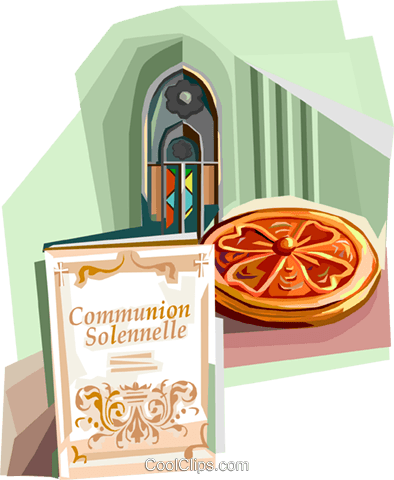 First Communion Solennelle announcement Royalty Free Vector Clip Art illustration vc112095