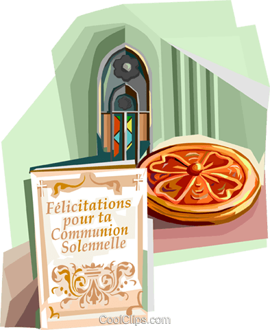 First Communion Solennelle announcement Royalty Free Vector Clip Art illustration vc112096