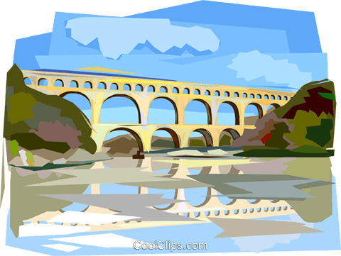 Pont du Gard Roman Aqueduct Royalty Free Vector Clip Art illustration vc112101