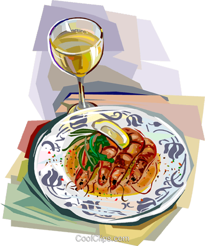 French seafood with glass of wine Royalty Free Vector Clip Art illustration vc112102