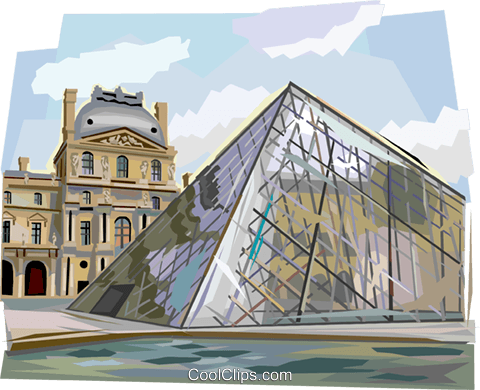 Pyramid entrance at the Louvre, Paris Royalty Free Vector Clip Art illustration vc112103