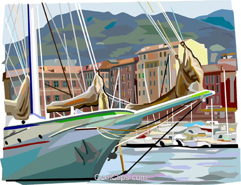 Nice, France ship in harbor Royalty Free Vector Clip Art illustration vc112104