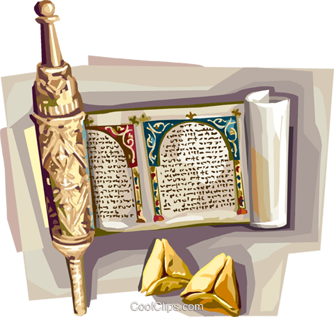 Purim Megillah with hamantachen Royalty Free Vector Clip Art illustration vc112111