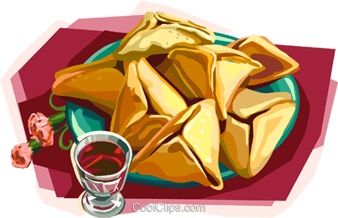 Plate of hamantachen with kiddush cup Royalty Free Vector Clip Art illustration vc112112