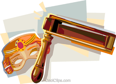 Purim greggar and Queen Esther mask Royalty Free Vector Clip Art illustration vc112113