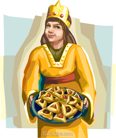 Girl wearing Purim costume Royalty Free Vector Clip Art illustration vc112114
