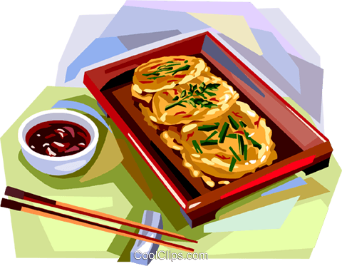 Korean cuisine fried cakes Royalty Free Vector Clip Art illustration vc112121