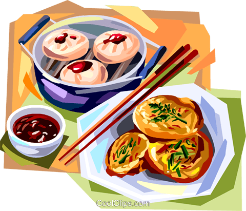 Korean cuisine fried cakes meal Royalty Free Vector Clip Art illustration vc112122