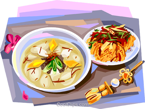 Korean cuisine rice-cake soup and kimchi Royalty Free Vector Clip Art illustration vc112123