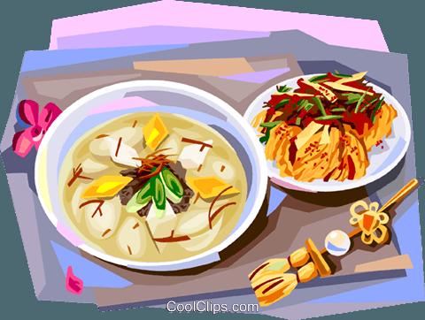 米饭粘贴画-菜 免版税矢量剪贴画插图