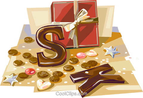 Dutch Christmas chocolate letters Royalty Free Vector Clip Art illustration vc112124