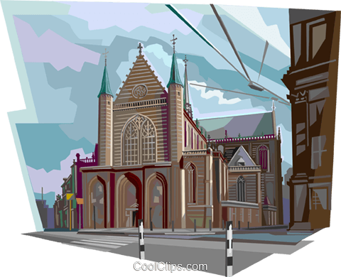 Nieuwe Kerk church, Netherlands Royalty Free Vector Clip Art illustration vc112128