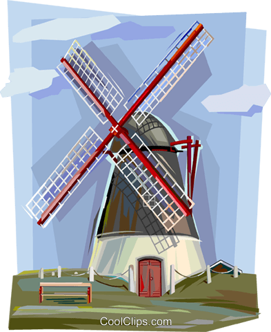 Netherlands windmill Royalty Free Vector Clip Art illustration vc112129