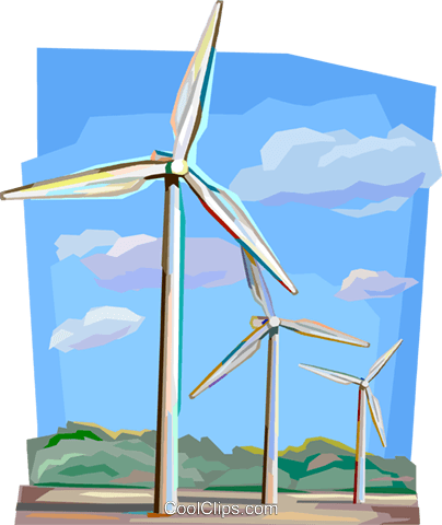Netherlands wind power generators Royalty Free Vector Clip Art illustration vc112130