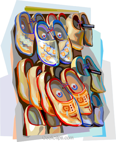 Netherlands wooden shoes Royalty Free Vector Clip Art illustration vc112131