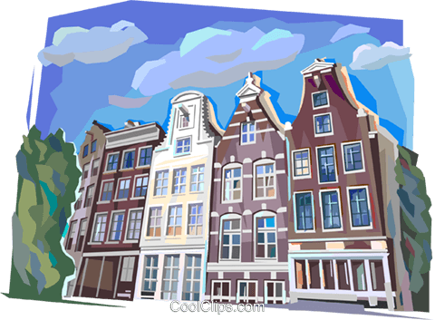 traditional Dutch architecture Royalty Free Vector Clip Art illustration vc112132