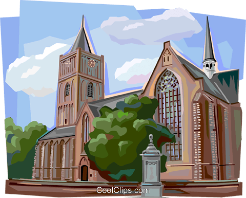 Typical Dutch church, Netherlands Royalty Free Vector Clip Art illustration vc112134