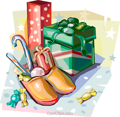 Dutch Christmas traditional gifts Royalty Free Vector Clip Art illustration vc112136