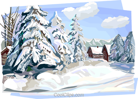 Russian winter nature scene Royalty Free Vector Clip Art illustration vc112142