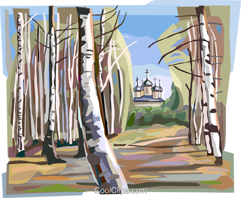 Russian nature scene with trees Royalty Free Vector Clip Art illustration vc112143