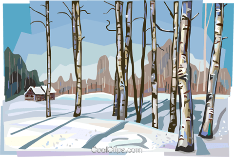 Russian winter nature scene Royalty Free Vector Clip Art illustration vc112144