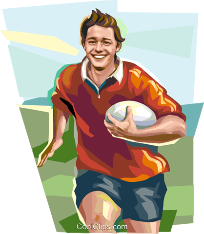 Rugby player Royalty Free Vector Clip Art illustration vc112146