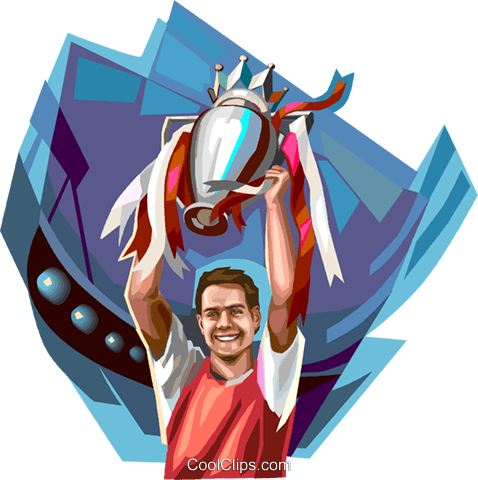 Sports champion with trophy Royalty Free Vector Clip Art illustration vc112148