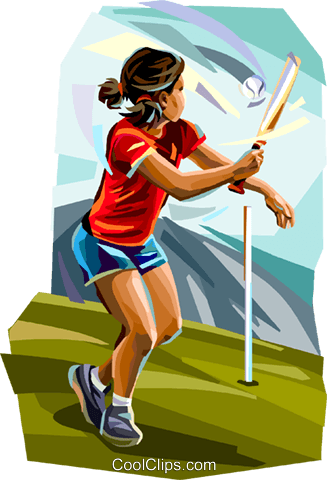 Girl playing rounders Royalty Free Vector Clip Art illustration vc112152