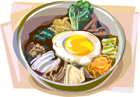 Korean Bibimbap Royalty Free Vector Clip Art illustration vc112159