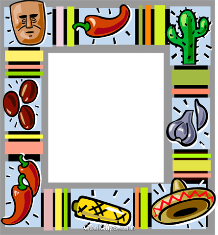 Mexican themed frame Royalty Free Vector Clip Art illustration vc112173