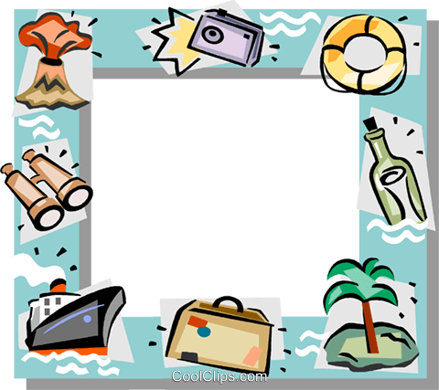 Vacation themed frame Royalty Free Vector Clip Art illustration vc112176
