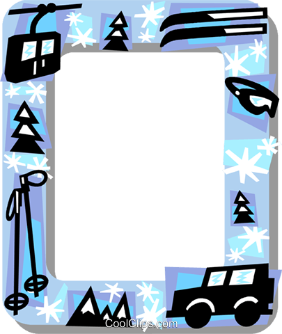 Downhill skiing frame Royalty Free Vector Clip Art illustration vc112181