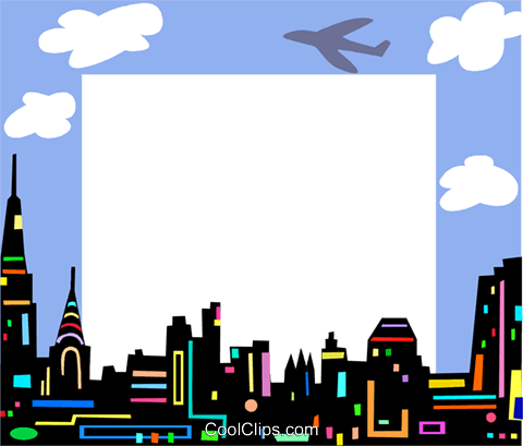 Cityscape frame Royalty Free Vector Clip Art illustration vc112236